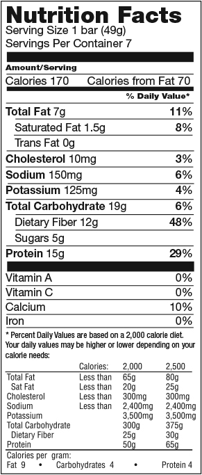 Peanut Butter Nougat Low Carb Bar nutrition spec graphic